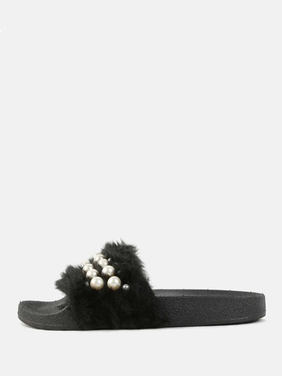 Open Toe Faux Pearl Sandals BLACK