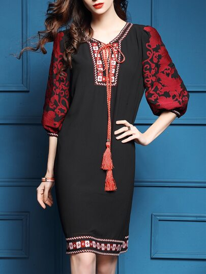 Black Tie Neck Tribal Embroidered Shift Dress