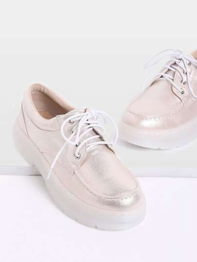 Gold Lace Up Rubber Sole PU Flats
