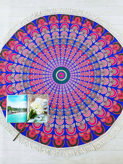 Multicolor Tribal Print Fringe Trim Round Beach Blanket