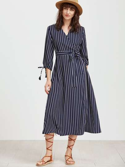 Vertical Striped Tie Cuff Surplice Wrap Dress