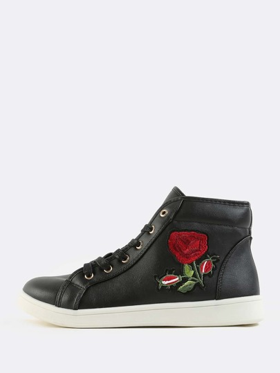 High Top Rose Embroidered Sneakers BLACK