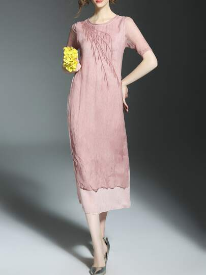 Pink Tree Embroidered Pockets Long Dress
