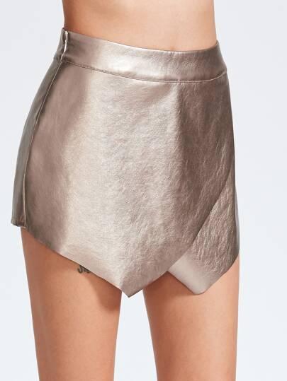 Falda-pantalón de cuero sintético con cremallera en la parte lateral - champán