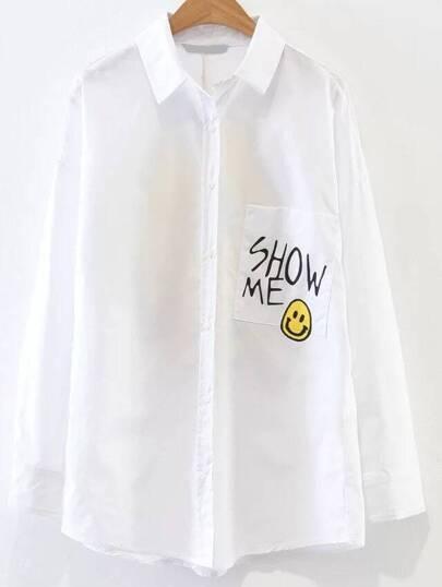 Bianco Smile Face Stampa Camicetta con Pocket