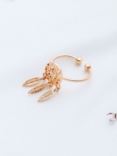 Gold Feather Embellished Cuff Ring