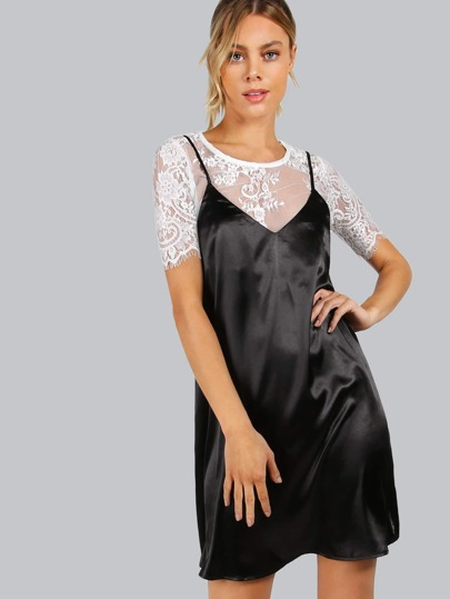 2 in 1 Kleid mit Spitze Kontrast