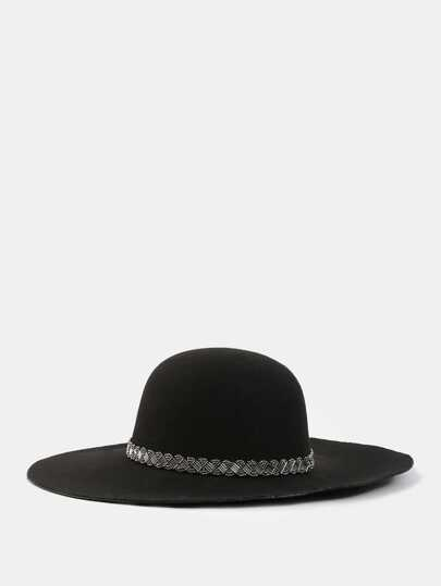 Floppy Faux Suede Beaded Hat BLACK