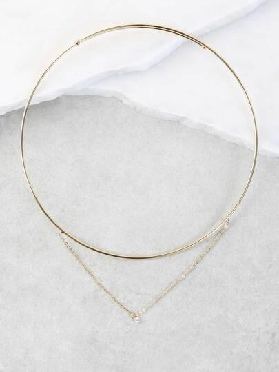 Dainty Jewel Metallic Choker GOLD