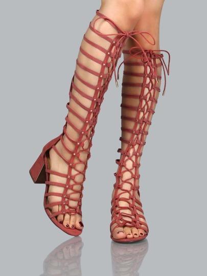 Faux Suede Gladiator Knee Heels DARK MAUVE