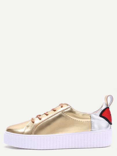Zapatillas pu con cordones color block - dorado