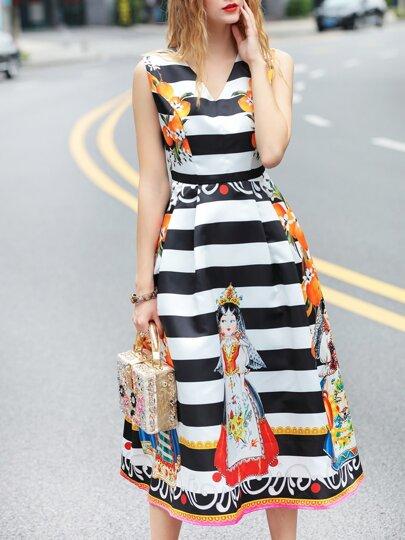 Black V Neck Striped Print A-Line Dress
