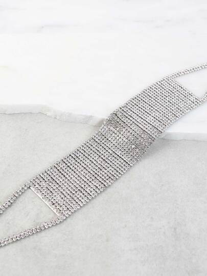 Bejeweled Metallic Choker Necklace SILVER
