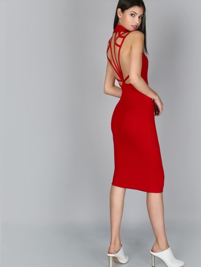 Cut Out Ankle Length Dress RED