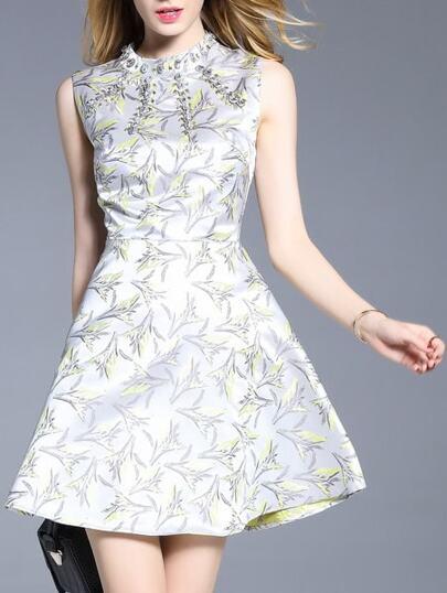 White Beading Print A-Line Dress
