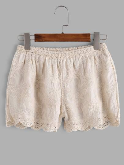 Apricot Embroidered Crochet Scallop Hem Shorts