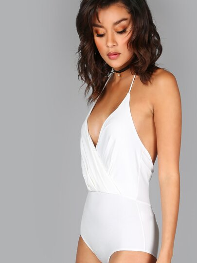Halter Neck Surplice Bodysuit