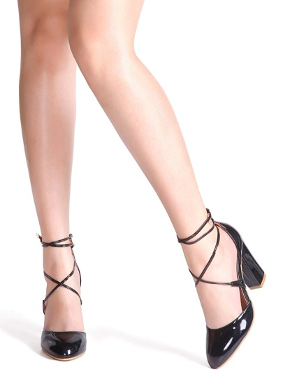 Black Criss Cross PU Chunky Heels