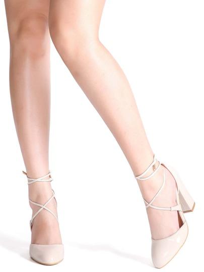 Apricot Criss Cross PU Chunky Heels