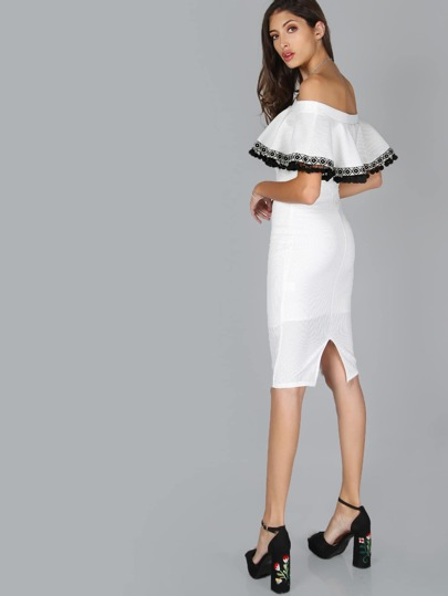 Pom Pom Ruffle Bardot Dress IVORY