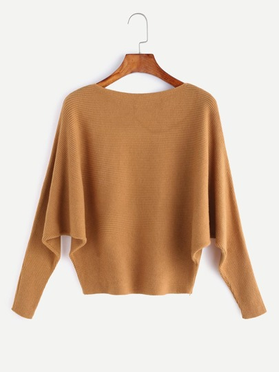 Yellow Boat Neck Batwing Sleeve Sweater