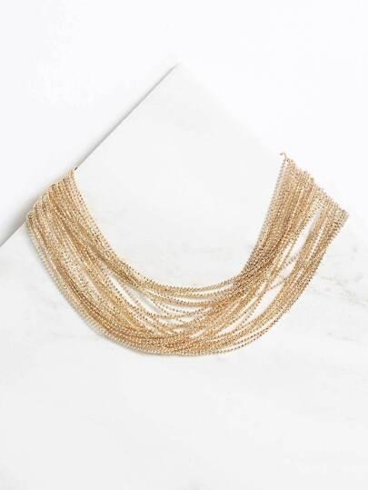 Multi-Layered Chain Choker Necklace GOLD