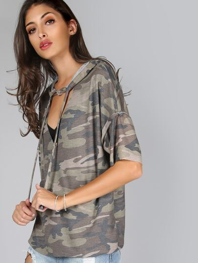 Short Sleeve Camouflage Hoodie OLIVE