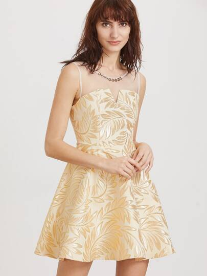 Gold Embroidery Contrast Mesh Shoulder Flare Dress