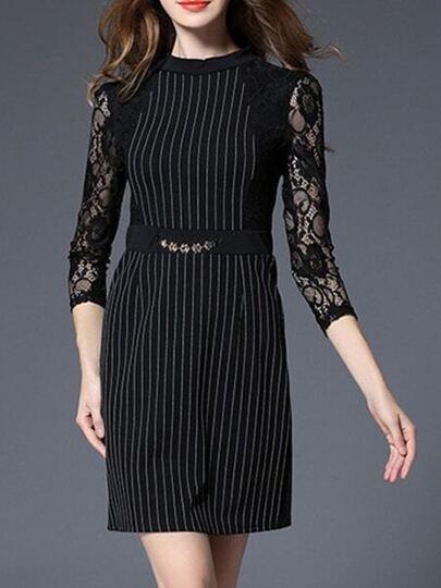 Black Striped Contrast Lace Sheath Dress