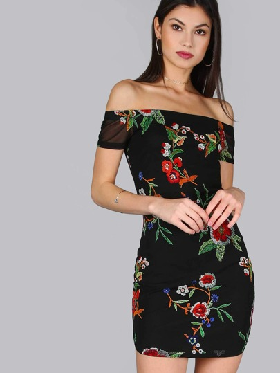 Floral Short Sleeve Mesh Dress BLACK