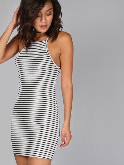 Square Neck Striped Dress OFF WHITE