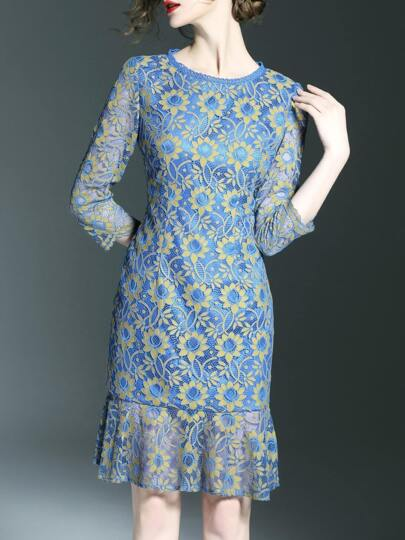Blue Flowers Lace Frill Dress
