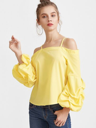 Giallo Cold Shoulder Lanterna manica