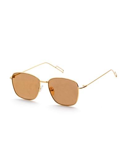 Gold Metal Frame Flat Lens Sunglasses