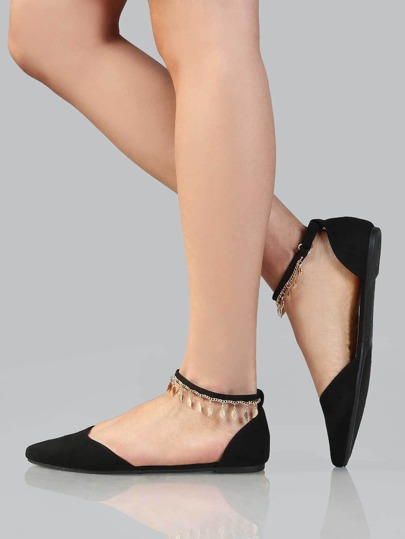 Pointy Toe Metallic Charms Flats BLACK