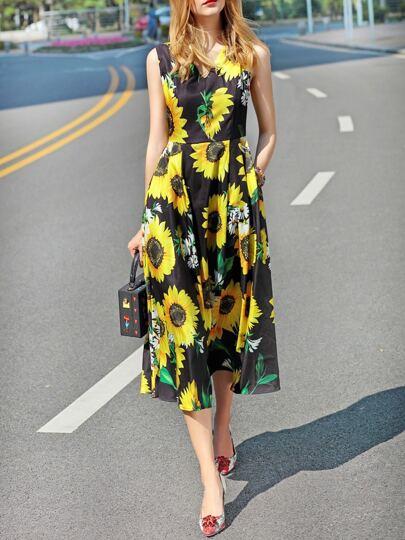 Black V Neck Sunflowers Pockets Dress