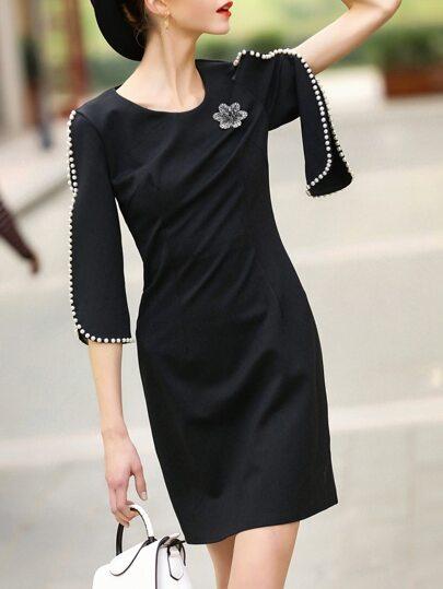 Black Beading Split Sleeve Sheath Dress