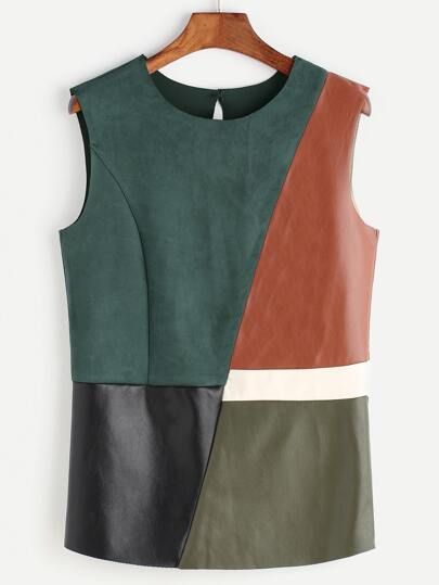 Color Block Keyhole Back Cut And Sew Faux Leather Tank Top