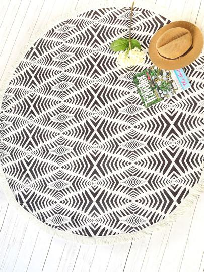 Black And White Printed Fringe Trim Round Beach Blanket