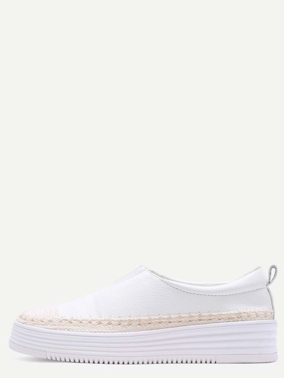 White Woven Detail Slip-On PU Sneakers