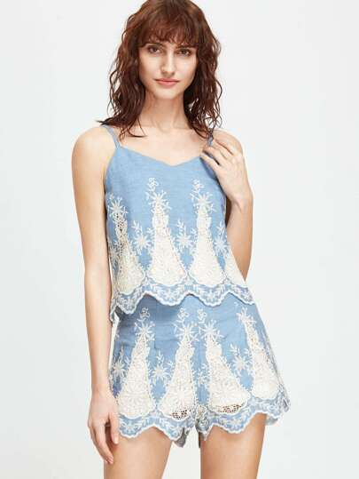 Blue Embroidery Wave Hem Cami Top