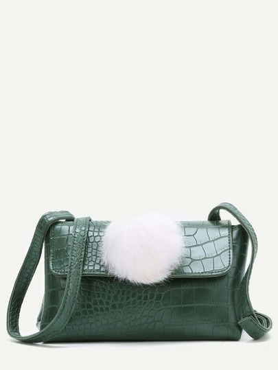 Green Crocodile Embossed PU Shoulder Bag With Pom Pom