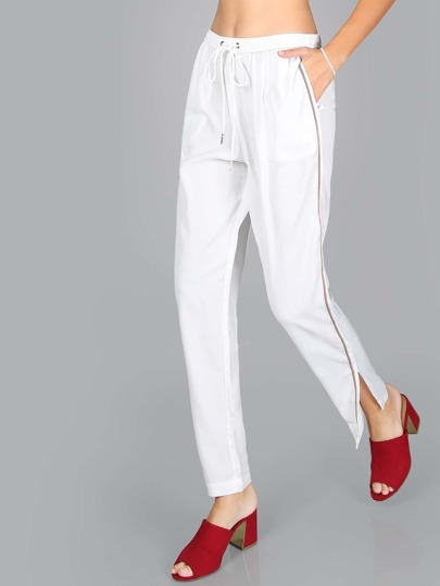 High Shine Finish Elastic Pants WHITE