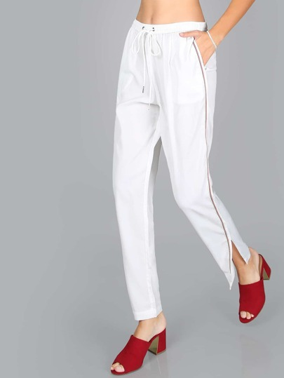 High Shine Finish Elastic Pants WHITE