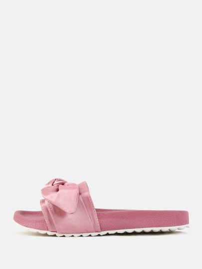 Satin Bow Tie Slide Sandals DUSTY PINK