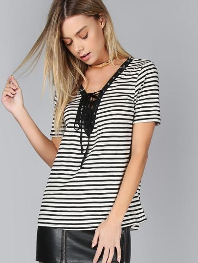 Lace Up V-neck T-Shirt BLACK MULTI
