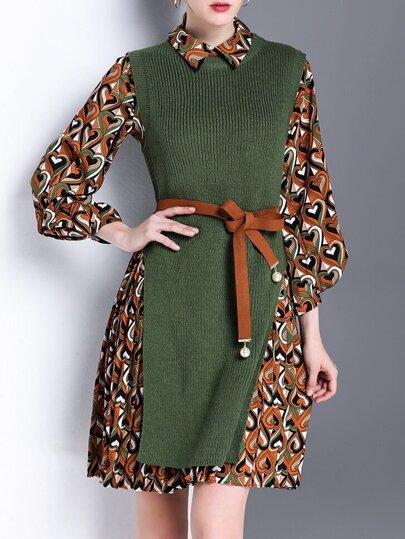 Green Knit Split Vest Two-pieces Print Dress