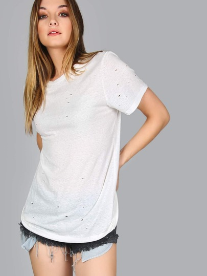 Distressed Round Neck Tee OFF WHITE
