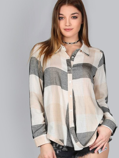 Checkered Button Up TAUPE MULTI