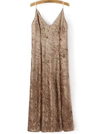 Gold Slit Velvet Midi Cami Dress
